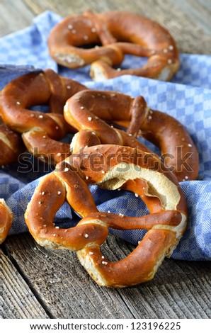 Fresh bavarian pretzels - stock photo