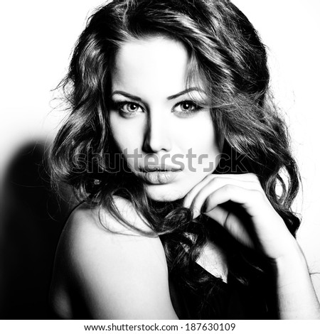 Fresh beautiful girl. Sexy woman. Fashion girl. Attractive young caucasian blue-eyed woman. Female face with clean healthy skin. Black and white. - stock photo