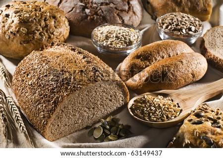 Fresh beautiful mixed bread close up shoot