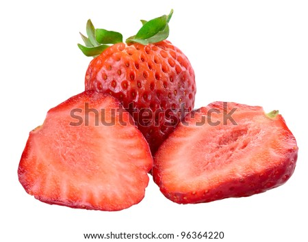 Fresh beautiful strawberries isolated on white background - stock photo