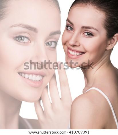 Fresh beautiful woman face  - stock photo