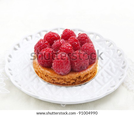 Fresh beauty fruitcake with raspberry on the white plate