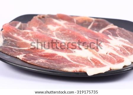 Fresh beef sliced - stock photo