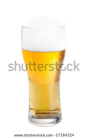 Fresh beer in a glass isolated on white background.