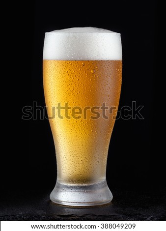 Fresh beer in a glass on a black background. The concept of food. - stock photo