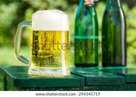 Fresh beer in garden - stock photo