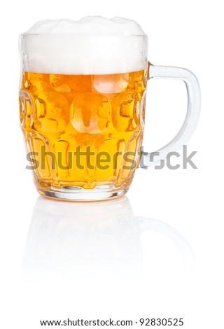 Fresh beer Mug with foam Isolated on white background - stock photo