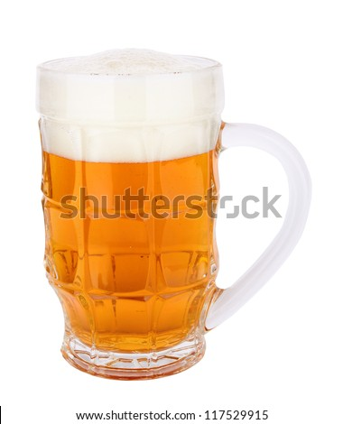 fresh beer with cap of foam isolated on white background - stock photo