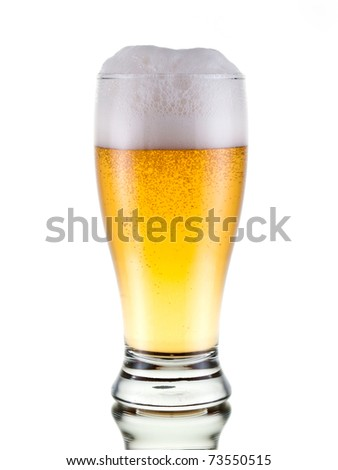 Fresh beer with froth, isolated on white
