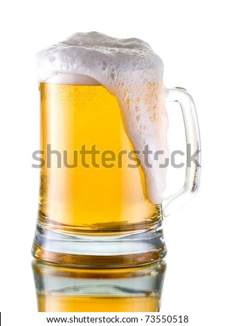 Fresh beer with froth, isolated on white - stock photo