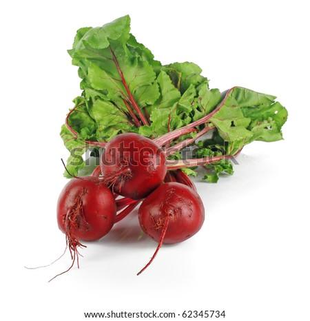 fresh beet roots isolated on white background, vegetables photo - stock photo