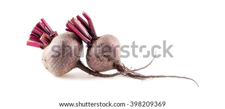 Fresh beetroots for juicing isolated on white - stock photo