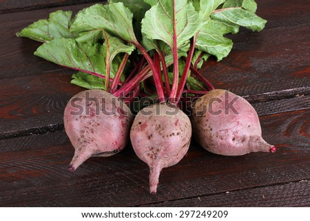 Fresh  Beets on Dark Wood