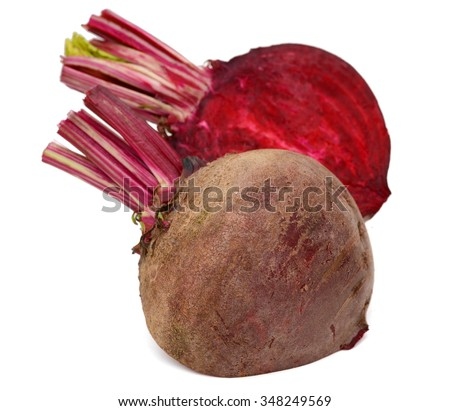 fresh beets on white background