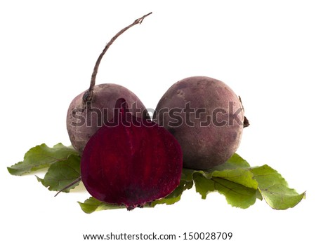 Fresh beets with leaves isolated on white background - stock photo