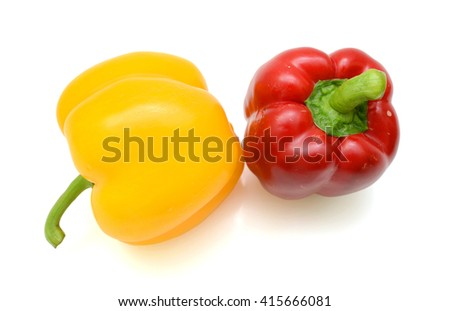 Fresh bell peppers isolated on white background - stock photo