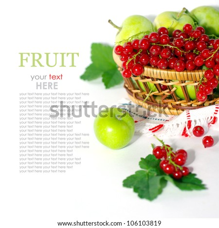Fresh berries and fruits on a white background, red currants and apples