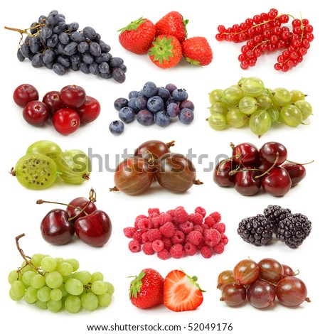 Fresh berries collection isolated on white background - stock photo