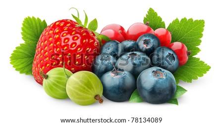 Fresh berries isolated on white - stock photo