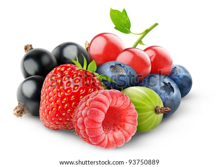 Fresh berries isolated on white - stock photo