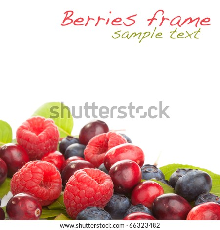 Fresh berries on white background with copyspace