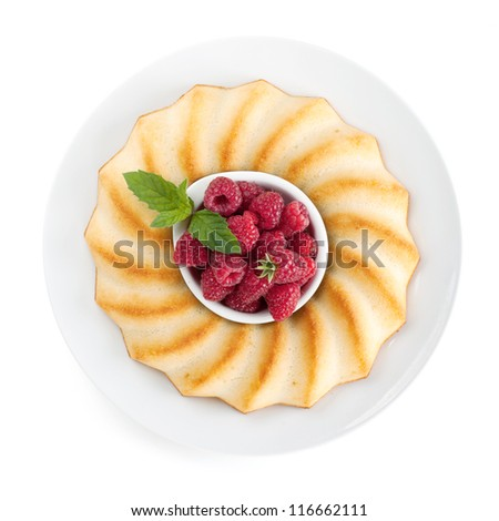 Fresh berries pie on plate. View from above. Isolated on white background - stock photo