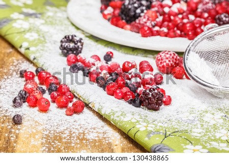 Fresh berries with strawberry and redcurrants with powdered sugar. Shallow DoF - stock photo