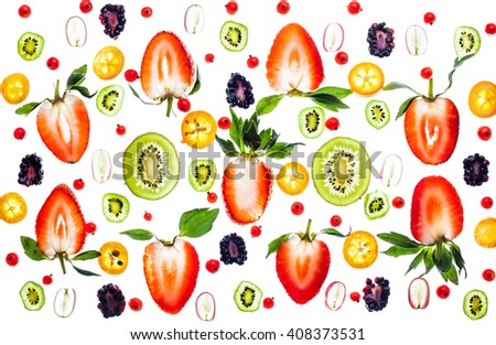 Fresh berry and fruit on white background. Transparent pattern - stock photo