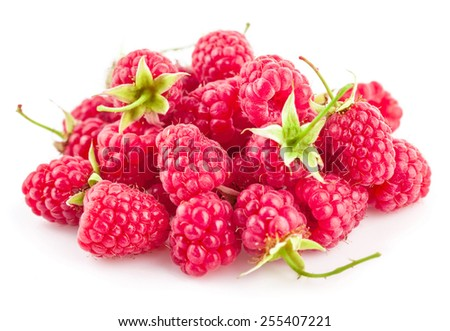 Fresh berry raspberries with green leaves. Isolated on white background - stock photo