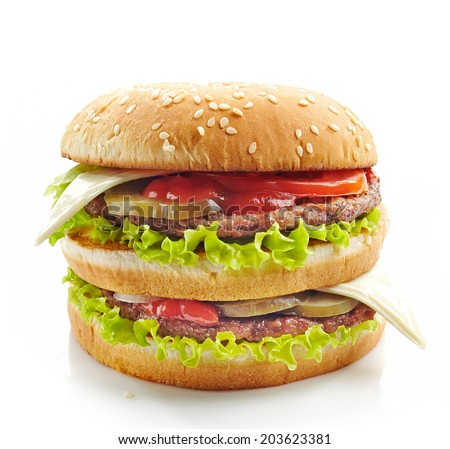 fresh big burger on a white background