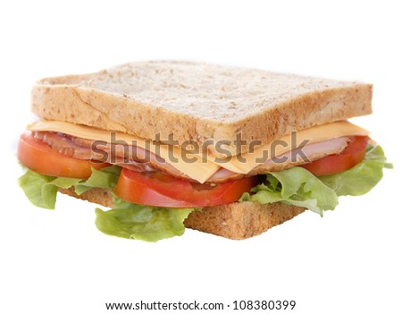 Fresh big ham cheese sandwich isolated on white background