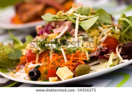 Fresh,big italian summer salad - stock photo