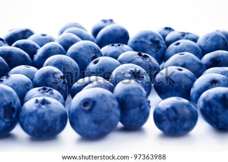 Fresh bilberry on white background - stock photo
