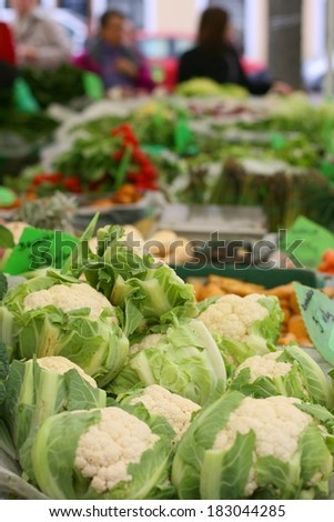 Fresh bio and organic vegetables on farmers market, Cauliflower (Brassica oleracea) - stock photo