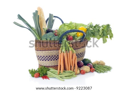 Fresh bio vegetables, white background, reflective surface - stock photo