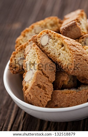fresh biscotti in a bowl - stock photo