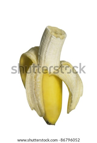 fresh bitten off banana isolated on white, with clipping path - stock photo