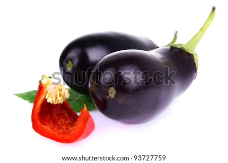fresh bitter and sweet pepper isolated on a white background