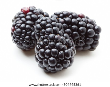 Fresh blackberries isolate on white background - stock photo