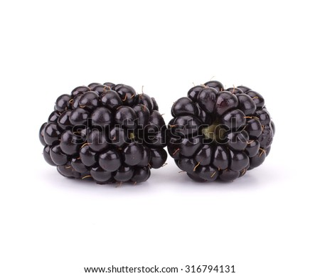 Fresh blackberry isolated on white background - stock photo