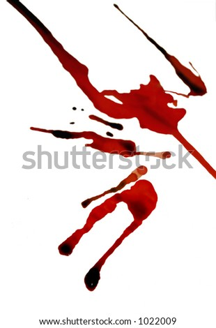 fresh blood drips on a stark white backdrop (isolated) - stock photo