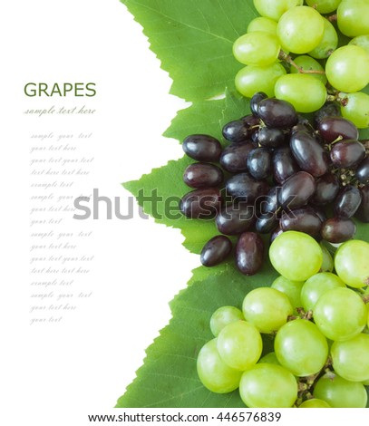 Fresh blue and green grapes with leaves isolated on white