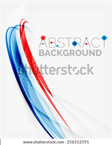 Fresh blue and red wave line. Abstract background - stock photo