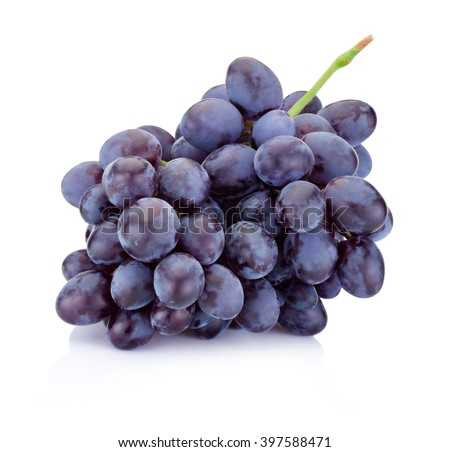 Fresh blue grapes isolated on a white background - stock photo