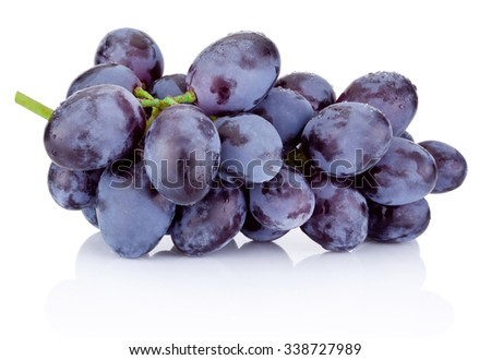 Fresh blue grapes isolated on white background - stock photo