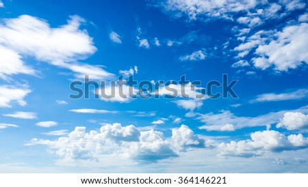 Fresh blue sky with clouds. - stock photo