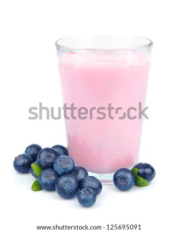 Fresh blueberries fruits and smoothies on white. Healthy food - stock photo