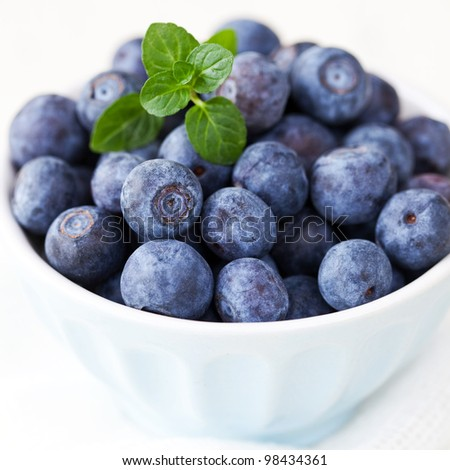 fresh blueberries in a bowl closeup