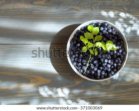 fresh blueberries in a white plate on wooden table - stock photo
