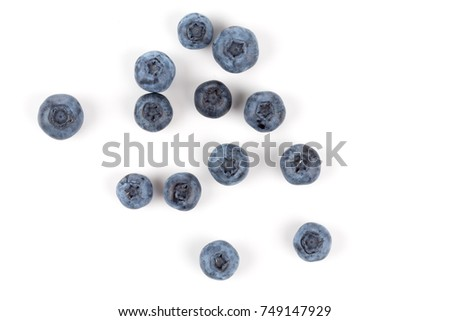 Fresh blueberries isolated on white background - close up